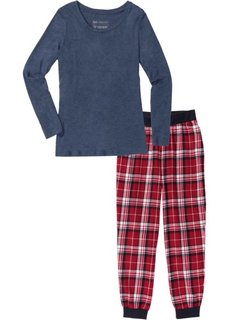Фланелевая пижама (темно-синий меланж с рисунком) Bonprix