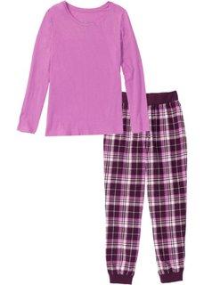 Фланелевая пижама (меланж ярко-розовой сирени с рисунком) Bonprix