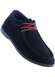 Удобные кожаные туфли на шнуровке, танкетка (черный/бордовый) Bonprix