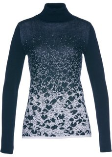Пуловер-водолазка с жаккардовым узором (темно-синий/серебристый) Bonprix