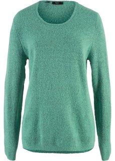 Пушистый пуловер (зеленый шалфей/черный) Bonprix