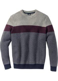 Пуловер Regular Fit с круглым вырезом (серый меланж/кленово-красный в полоску) Bonprix