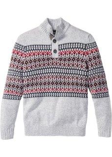 Пуловер Regular Fit на пуговицах (серый меланж) Bonprix
