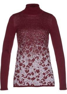 Пуловер-водолазка с жаккардовым узором (красный/серебристый) Bonprix