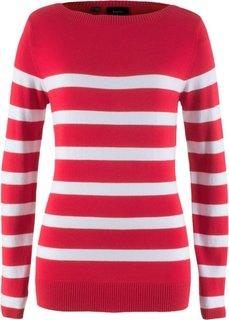 Пуловер с вырезом-лодочка и длинным рукавом (красный/белый в полоску) Bonprix