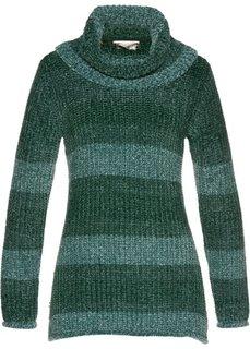 Пуловер с высоким воротником (темно-зеленый) Bonprix