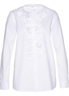 Блузка с рюшами (белый) Bonprix