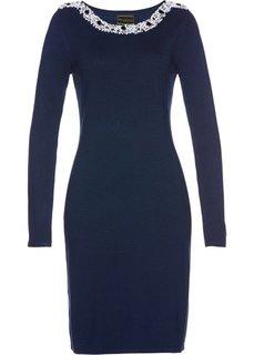 Вязаное платье ПРЕМИУМ (темно-синий) Bonprix