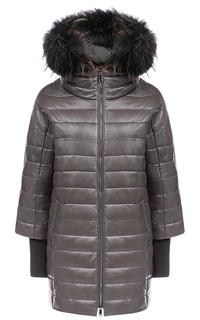 Зимняя кожаная куртка с мехом енота La Reine Blanche