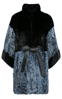 Утепленный жакет из меха козлика с отделкой мехом норки Virtuale Fur Collection