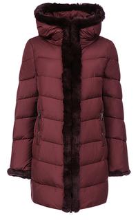 Пальто на натуральном пуху с отделкой мехом кролика Violanti