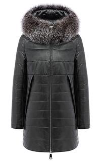Кожаная куртка на синтепоне со съемным мехом песца La Reine Blanche