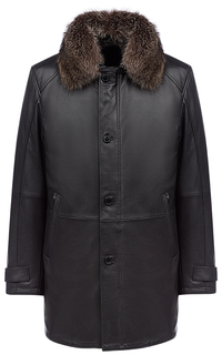 Кожаная куртка на синтепоне с отделкой мехом енота Al Franco