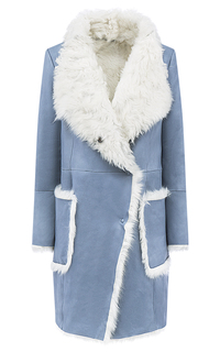 Голубая дубленка из овчины La Reine Blanche
