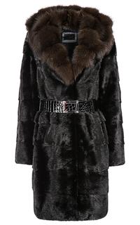 Пальто из меха норки с отделкой мехом куницы и поясом Flaumfeder