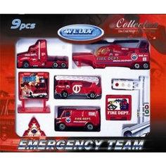 """Welly Набор """"Служба спасения - пожарная команда""""  9 штук"""