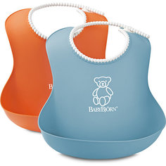 Комплект из 2-х нагрудников, BabyBjorn, оранжевый/голубой