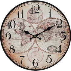"""Часы настенные """"Карта мира"""", диаметр 34 см Белоснежка"""