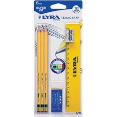Чернографитные карандаши с ластиком 3 шт (с металлической точилкой, ластиком и линейкой) Lyra
