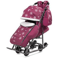 Санки-коляска ABC Academy Pikate Снежинки на тёмно-серой раме, малиновый