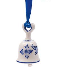 Новогоднее подвесное елочное украшение Колокольчик из керамики Magic Time