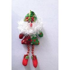 Украшение новогоднее подвесное Дед Мороз красно-зеленый арт.42527 из полиэстра Magic Time