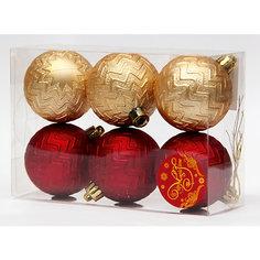 Новогоднее подвесное украшение Ассорти Шары красные и золотые из полистирола. Набор из 6 шт. Magic Time