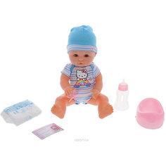 "Интерактивная кукла Карапуз ""Hello Kitty"" с аксессуарами 40 см, в голубом"