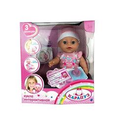 Интерактивная кукла Карапуз пьет, писает, закрывает глазки, 30 см (в розовом)
