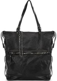 Черная кожаная сумка с карманом на клапане Campomaggi