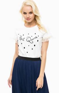 Хлопковая футболка с отделкой камнями Pennyblack