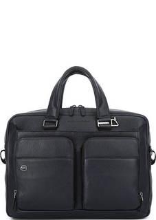 Синяя кожаная сумка через плечо с одним отделом Piquadro