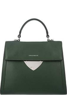 Зеленая кожаная сумка с откидным клапаном Coccinelle