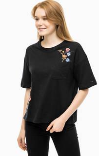 Хлопковая футболка с цветочной вышивкой Hilfiger Denim
