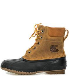 Высокие коричневые ботинки на шнуровке Sorel