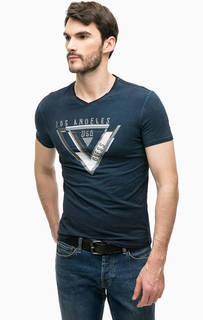 Синяя футболка с фактурным принтом Guess