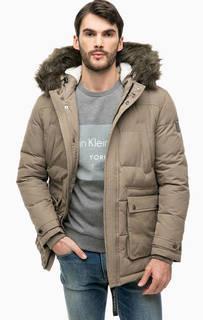 Серая утепленная куртка с капюшоном Calvin Klein Jeans