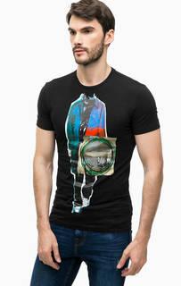 Хлопковая футболка с контрастным принтом Antony Morato