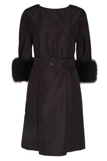 Шелковое платье с меховыми манжетами Prada
