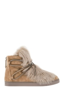 Замшевые ботинки с мехом Gianvito Rossi