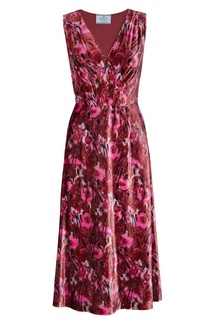 Бархатное платье с принтом Prada