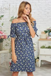 Платье с цветочным принтом и спущенными рукавами Vittoria Vicci