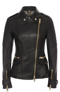 Приталенная кожаная куртка с косой молнией Burberry