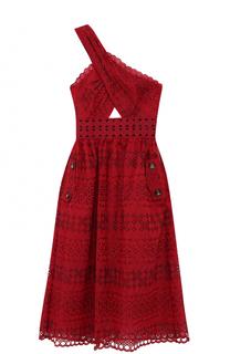 Кружевное платье-миди с открытым плечом self-portrait