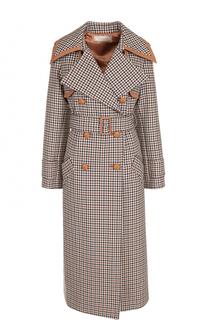 Шерстяное двубортное пальто с поясом Nina Ricci