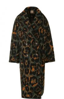 Двубортное вязаное пальто с принтом Nude