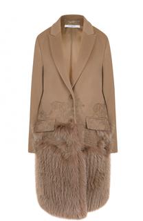 Пальто из смеси шерсти и кашемира с отделкой из меха лисы Givenchy