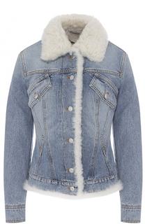 Приталенная джинсовая куртка с отделкой из овчины Alexander McQueen