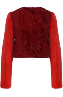 Укороченная шуба из меха норки и овчины с круглым вырезом Givenchy
