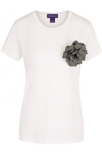 Хлопковая футболка с брошью-цветком Ralph Lauren